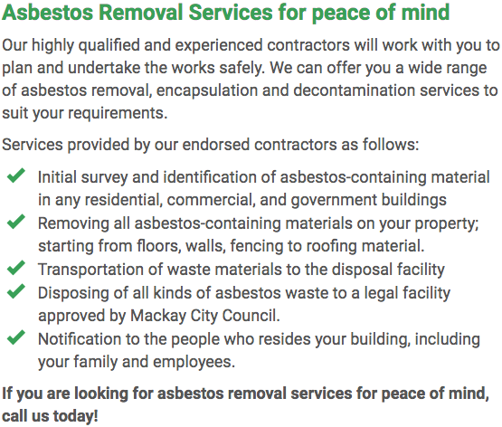Asbestos Watch Mackay - removal right