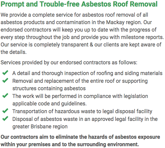 Asbestos Watch Mackay - roof removal right
